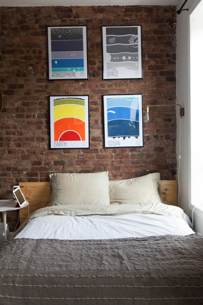 Set of prints above bed