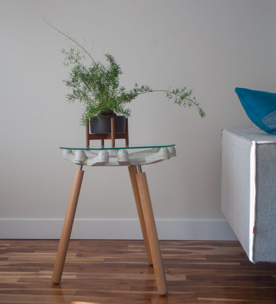 Glass side table with plant